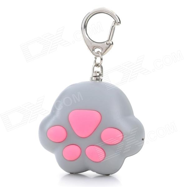 Cat Paw Style White Light 2-LED Flashlight Keychain w/ Meow Sound Effect - Grey + Pink (3 x AG10) mini horn style aluminum alloy 3 led 1 mode white light flashlight keychain red 3 x ag10