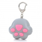 Cat Paw Style White Light 2-LED Flashlight Keychain w/ Meow Sound Effect - Grey + Pink (3 x AG10)