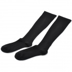 Grid Pattern Women's Cotton Tights Knee High Tube Socks - Black (Pair)