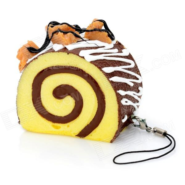 Stimulate Chocolate Cake Style Cell Phone Pendant w/ Strap - White + Yellow + Brown