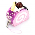 Stimulate Blueberry Cake Style Cell Phone Pedant w/ Strap - Pink + White + Purple