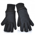 Fashion Woman's Pigskin Knitting Fabric Wool Gloves - Black (Pair)