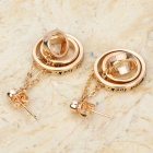 KCCHSTAR BK-809 Dual Ring Shaped Zinc Alloy Earrings - Golden (Pair)