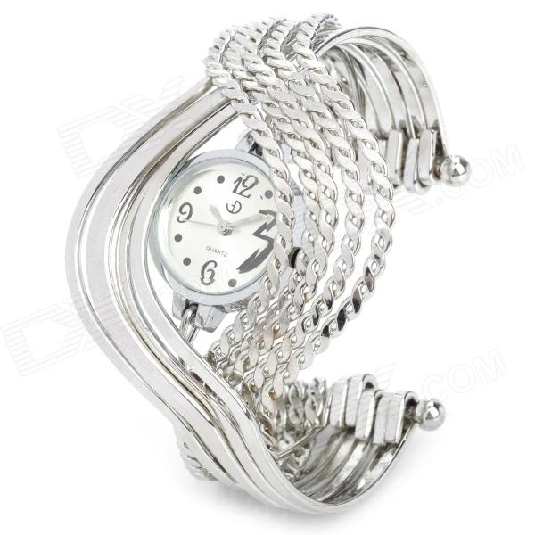 Stainless Steel Band Analog Quartz Bracelet Watch for Women - Silver (1 x 377) stylish bracelet band quartz wrist watch golden silver 1 x 377