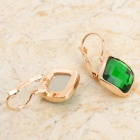 KCCHSTAR BK-248 Rhombus Shaped Zinc Alloy Rhinestone Earrings - Green (Pair)