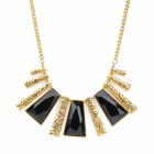 Retro Ladder-Shaped Iron + Resin Pendant Necklace - Golden + Black
