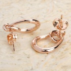 KCCHSTAR BK-625 Oval Shaped Zinc Alloy Earrings - Golden (Pair)