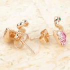 KCCHSTAR BK-842 Swam Style Zinc Alloy Earrings - Golden + Purple (Pair)