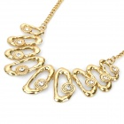 Cute Footprint Shaped Iron Plating + Rhinestone Pendant Necklace - Golden