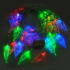 3W 30-LED Strobe Light Multicolor Estilo Leaf String Light Decoración (220/2-Round-Pin Plug)