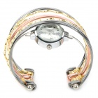 Fashion Woman's Zinc Alloy Band Quartz Analog Waterproof Wrist Watch Bracelet - Silver + Golden