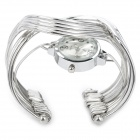 SZ001 Stainless Steel Band Analog Quartz Bracelet Watch for Women - Silver (1 x 377)