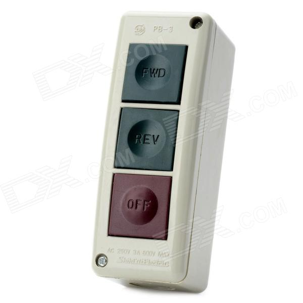 PB-3 AC 250V 3A FWD / REV / OFF Momentary Push Button Switch Box