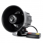 30W 3-Sound Loud Security Alarm Siren Horn Speaker - Black