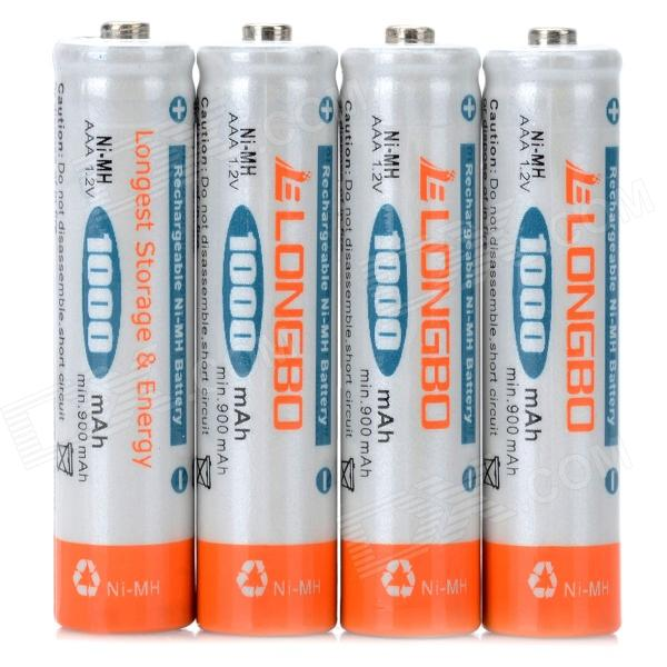LongBo 1.2V 1000mAh AAA Rechargeable NiMH Battery (4 PCS) 8pcs pkcell battery aaa pre charged nimh 1 2v 1200mah ni mh 3a rechargeable batteries up to 1000mah capacity cycle 1200times