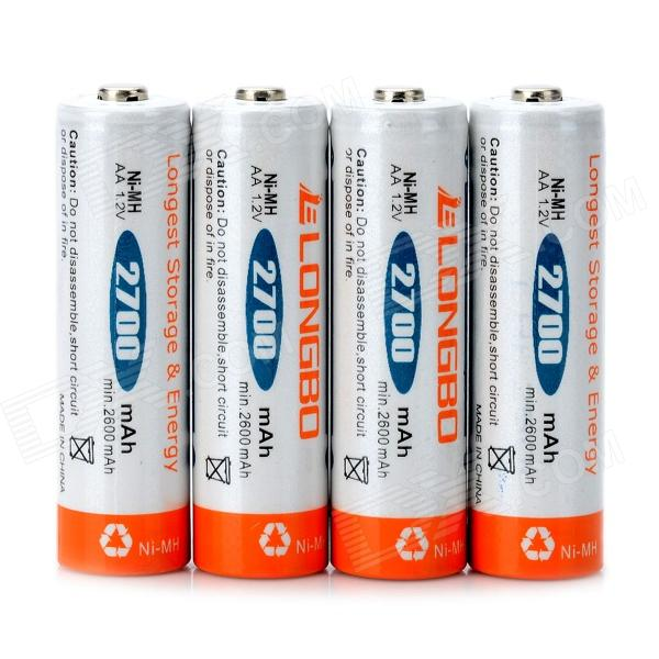 "LongBo AA 1.2V ""2700mAh"" NiMH Rechargeable Batteries (4 PCS)"