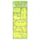 Cars Pattern Home Decorative Luminous Stickers - Fluorescence Green