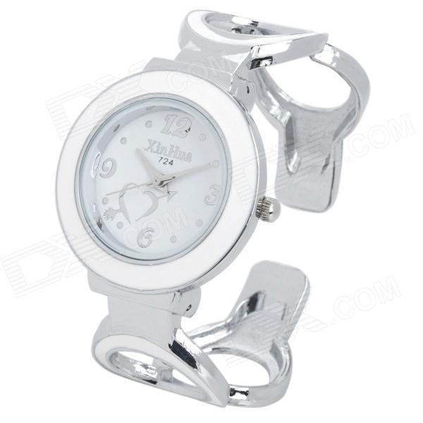 Hollow Out Style Fashion Zinc Alloy Quartz Analog Waterproof Wrist Watch - White + Silver (1 x 377) stylish women s zinc alloy quartz analog wrist watch bracelet w beads silver black 1 x 377