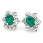 KCCHSTAR Flower 18K Emerald Crystal Earrings - Green + Silvery (Pair)