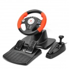 DILONG P3808 USB Racing Wheel Controller w/ Hand Brake & Foot Pedal for PS2 / PS3 / PC - Black + Red
