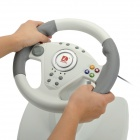 DILONG PB808 Racing Wheel Controller w/ Hand Brake & Foot Pedal for Xbox 360 - Grey + White