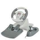 Dilong PB808 Racing Wheel Controller w / Hand Brake & Foot Pedal für die Xbox 360 - Grau + Weiß
