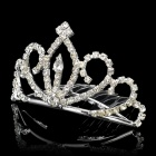 Elegant Alloy Plating Crown Hairpin w/ Rhinestone - Silver (Size M)