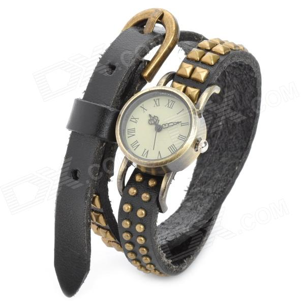 Fashion Punk Style Double-Row Rivets Cowhide Leather Wrist Watch - Black + Bronze (1 x SR626SW)