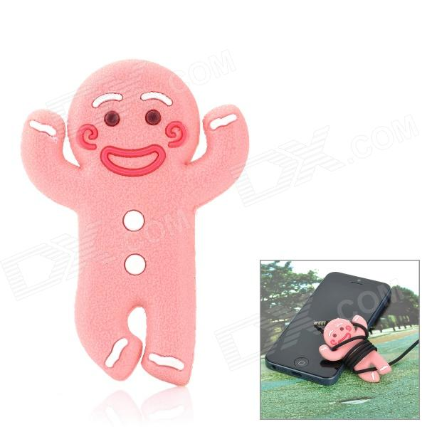 JD-1106 Cute Gingerbread Man Style Cord Cable Winder Organizer - Pink