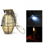 DF222 Creative Grenade Shape Butane Gas Lighter w/ 1-LED Flashlight - Bronze