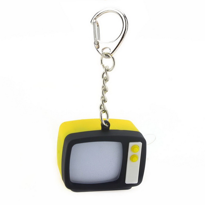 Retro TV Style Keychain w/ TV Static Noise Sound & LED Light Effects - Black + Yellow (3 x AG10) от DX.com INT