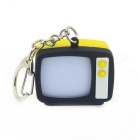 Retro TV Style Keychain w/ TV Static Noise Sound & LED Light Effects - Black + Yellow (3 x AG10)