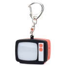 Retro TV Style Keychain w/ TV Static Noise Sound & LED Light Effects - Black + Red (3 x AG10)