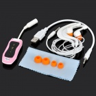Waterproof MP3 Player w/ FM / Earphones - Pink + Black
