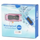 Waterproof MP3 Player w / FM / Auriculares - rosa + Negro