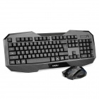 Lingdu D9700 2.4GHz Wireless 105-Key Keyboard + 1000/1600DPI Mouse - Black (1 x AA / 1 x AA)