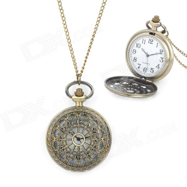 Retro Skeleton Flower Pattern Zinc Alloy Quartz Analog Pocket Watch - Bronze (1 x LR626) vintage retro bronze pocket watch men women vogue analog quartz pendant watch chain necklace watches flower crown hour clock