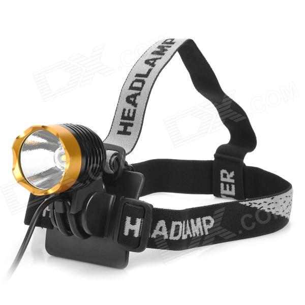 600lm 3-Mode White Crown Head Bike Light Headlamp - Black + Golden (4 x 18650) ultrafire u 100 4 led 4 mode 2400lm white bike light headlamp black deep pink