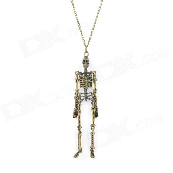 Movable Skeleton Shaped Zinc Alloy Pendant Necklace - Bronze 1pc unisex watch man woman new unique death note bronze necklace chain pocket watch necklace chain gift free shipping a20