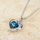 KCCHSTAR BK-3800 Heart Shaped 18K Gold Plating Alloy + Rhinestone Pendant Necklace - Silver