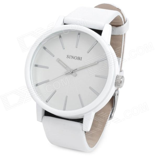 SINOBI 9213 PU Band Analog Quartz Wrist Watch for Men - White (1 x LR626 )