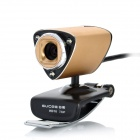 GUCEE HD10 720P USB 2.0 1.3MP PC Camera Webcam with Microphone / 3-LED Night Vision Light - Golden