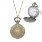 Retro Flower Pattern Zinc Alloy Quartz Analog Pocket Watch - Bronze (1 x LR626)