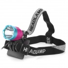 Cree XM-L T6 600lm 3-Mode White Crown Head Bike Light Headlamp - Deep Pink + Blue (4 x 18650)