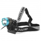 600lm 3-Mode White Crown Head Bike Light Headlamp - Metal Grey + Blue (4 x 18650)