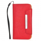 KALAIDENG Protective PU Leather Flip-Open Case Cover w/ Card Slots / Hand Strap for Iphone 5 - Red