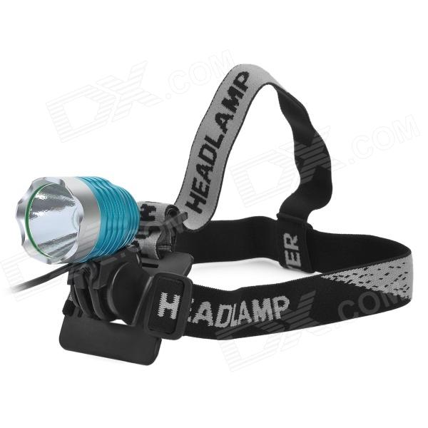 600lm 3-Mode White Crown Head Bike Light Headlamp - Blue + Silver (4 x 18650) hot sale 3x cree xml t6 led headlamp bike light 5000 lumen 18650 led head light 4x18650 battery pack charger bike rear light