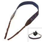 CAM-in Cotton Fiber Thread Knitted Neck / Shoulder Strap for DSRL Camera - Deep Blue + Brown