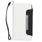 KALAIDENG Protective PU Leather Flip-Open Case Cover w/ Card Slots / Hand Strap for Iphone 5 - White