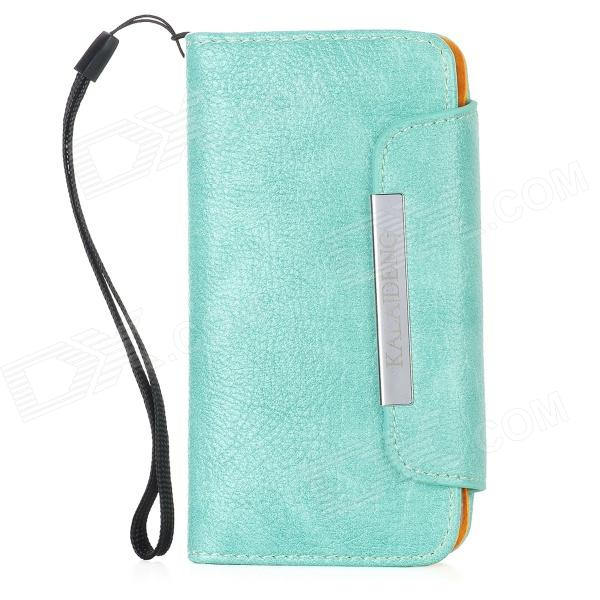 KALAIDENG Protective PU Leather Flip-Open Case Cover w/ Card Slots / Hand Strap for Iphone 5 - Green